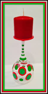 christmas wine glasses as candle holders