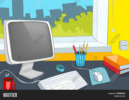 hand drawn cartoon of modern office interior colourful cartoon of