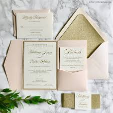 wedding invitation pocket blush and gold glitter pocket wedding invitations with glitter