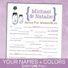 bridal mad libs jar wedding mad lib guest book marriage advice cards