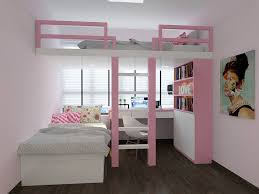 White Wood Loft Bed With Desk by Bedroom Lovely Little Bedroom Design With Pink White Wooden