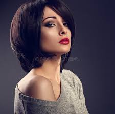 woman with short hair beautiful makeup woman with short hair style with hot red l stock