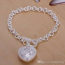 silver bracelet with heart pendant images Fashion 925 silver bracelet jewelry diamond hollow heart pendant jpg