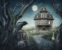 haunted house and spooky graveyard stock photo picture and