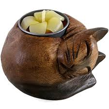 something different curled cat wooden tealight holder multi