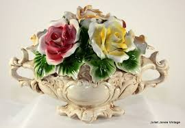 capodimonte basket of roses cheerful capo di monte center flower basket from