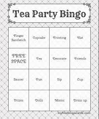 free printable bingo cards tea party birthday