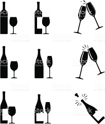 black and white champagne bottle clipart wine icons stock vector art 165061834 istock