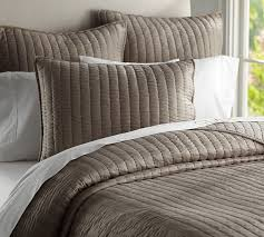 Quilted Coverlets And Shams Silk Channel Two Toned Quilt U0026 Sham Pottery Barn