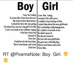 Boy Girl Memes - boy girl i saw her today isaw him today it seems like it has been