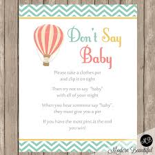 don u0027t say baby game sign in balloon baby shower theme