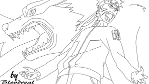 naruto ninetailed jinchuuriki lineart by advance996 on deviantart