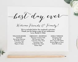 destination wedding itinerary wedding timeline printable wedding itinerary template green