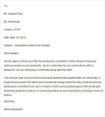 acceptance letter format 9 acceptance letter sample format 9