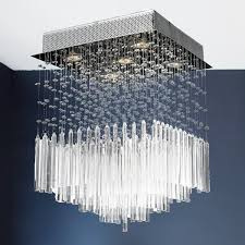 Halogen Ceiling Light Fixtures by Modern Beaded Crystal 5 Light Halogen Chrome Finish Raindrop
