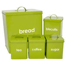 5 piece kitchen storage set includes bread bin biscuit tea coffee