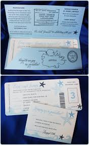 airline ticket wedding invitations with shades of blue waves and