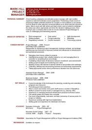 project manager resume format project manager resume examples