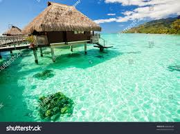 over water bungalow steps into amazing stock photo 66624634