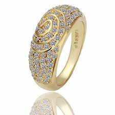 golden gold rings images Men 39 s 8k golden rings crystal ouro anel with gift box for jpg