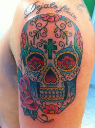 colorful skull tattoos sugar skull color by