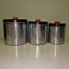 Red Kitchen Canisters Sets Art Deco Canister Set Chrome Kitchen Ribbed From Lakegirlvintage