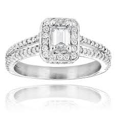 halo design rings images Emerald cut diamond engagement ring in platinum 1 21ct halo design jpg