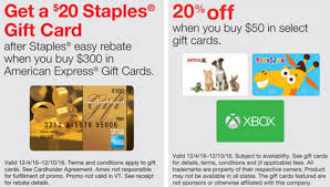 staples amex gift card rebate 20 select merchant cards