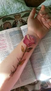 christian tattoo isaiah 44 5 rose flower stem pastel water color