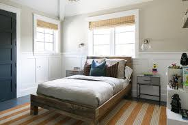 boy room with reclaimed wood bed and board and batten