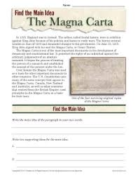 high main idea worksheet about the magna carta