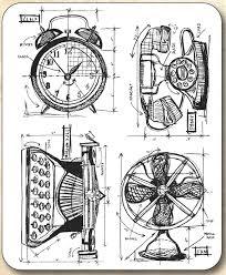 tim holtz cling rubber st set vintage things blueprint