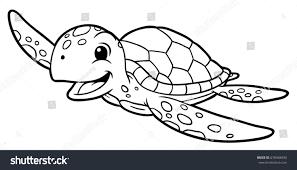 cartoon sea turtle line art stock vector 678468490 shutterstock
