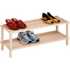Shoe Rack by Honey Can Do 2 Tier Wood Shoe Rack Unfinished Walmart