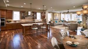 open floor plan living room kitchen dining
