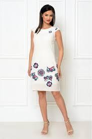 rochii de zi rochie de zi alba cu broderie florala