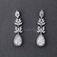 wedding earrings drop wedding day earrings bridal earrings cz earrings lynne
