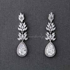 wedding earrings drop wedding day earrings bridal earrings cz earrings lynne