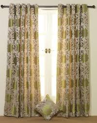 pair of lime green u0026 beige floral jacquard eyelet lined curtains