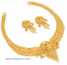 gold rani haar sets 22 karat gold necklace set with earrings gs137