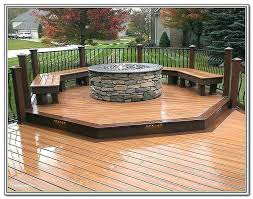 Deck Firepit Pit In Wood Deck Large Deck With Benches And Pit