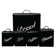 canister set 5 piece black sugar tea coffee biscuits bread kitchen