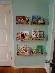 Modern Kids Bookshelf Kids Room Decor With Unstained Wooden Wall Bookshelves On Green