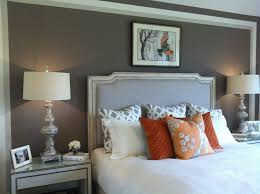 love the grey paint white quilt u0026 orange accents master bedroom