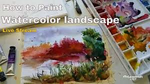 how to paint simple watercolor landscape painting live stream