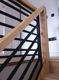 Contemporary Handrail Outstanding Wooden Staircase Design With Black Metal Fence And