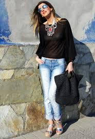 style statement necklace images Casual style with a statement necklace celebrity fashion outfit jpg