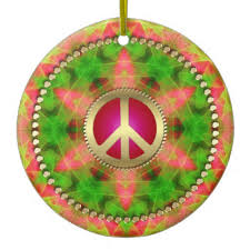 colourful hippie peace sign ornaments