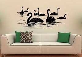 Swan Birds Wall Decal Lake Vinyl Stickers Flying Animal Home - Home interior wall designs