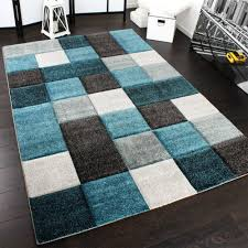 tappeto design moderno tappeto design moderno lavorato a mano con bordo a quadri turchese